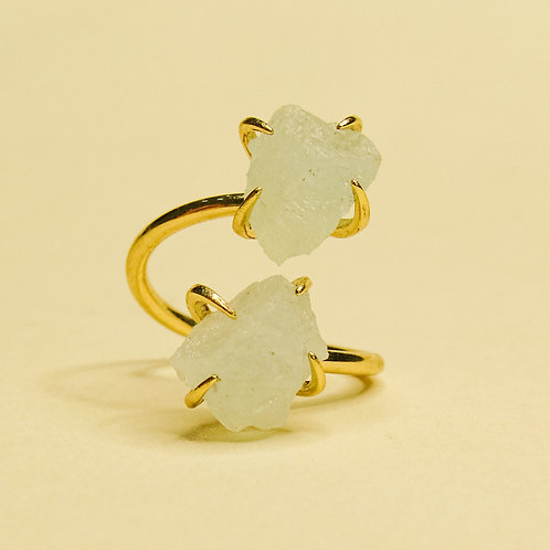 Double Clear Quartz Crystal Adjustable Gold Ring