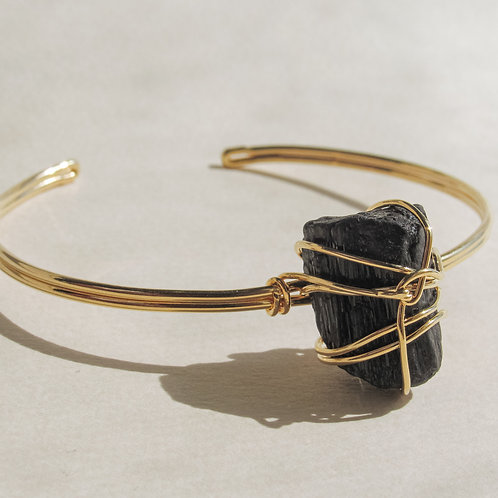 Black Tourmaline Crystal Wired Bracelet