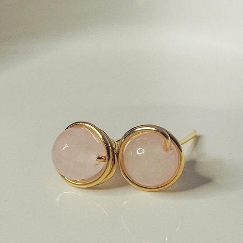 Rose Quartz Crystal Stud Earrings