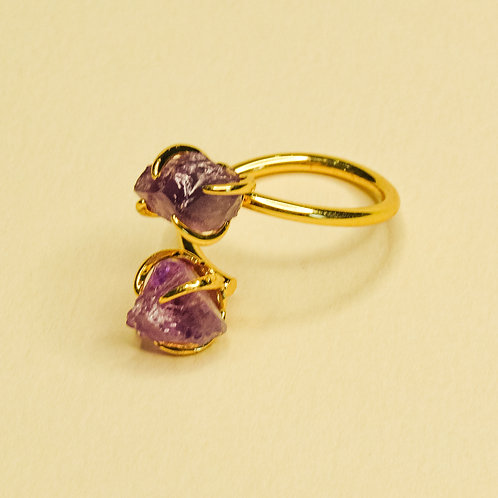 Double Amethyst Crystal Adjustable Ring