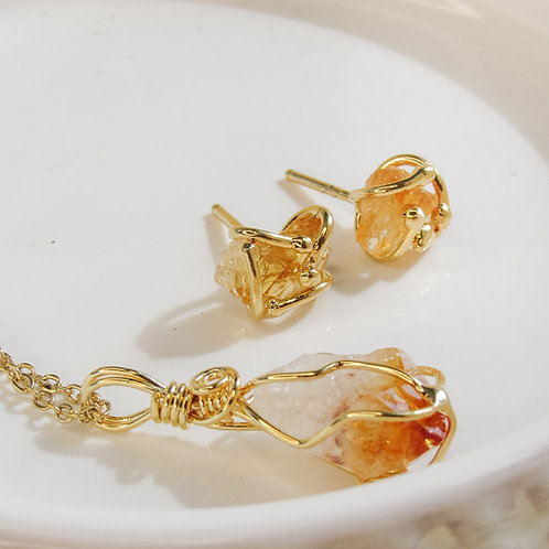 Citrine Crystal Necklace and Earrings set