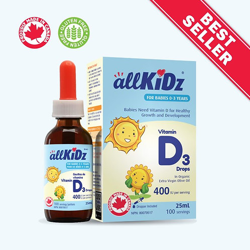 Gouttes de vitamine D3 (pour bébés 400 UI) 0-3 ANS