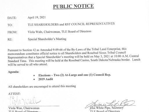 PUBLIC NOTICE - TLE Special Shareholder's Meeting
