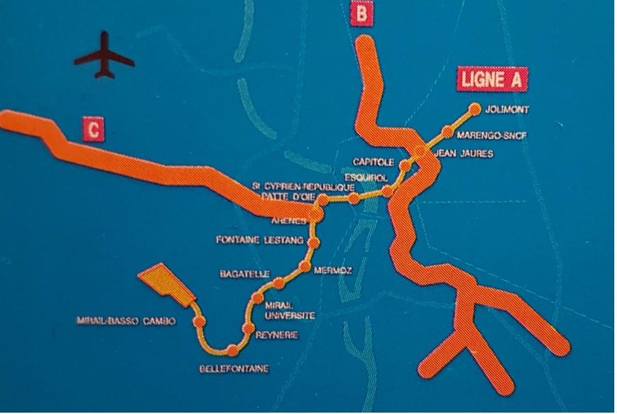 Schéma du réseau projeté et des trois variantes Sud de la future ligne B