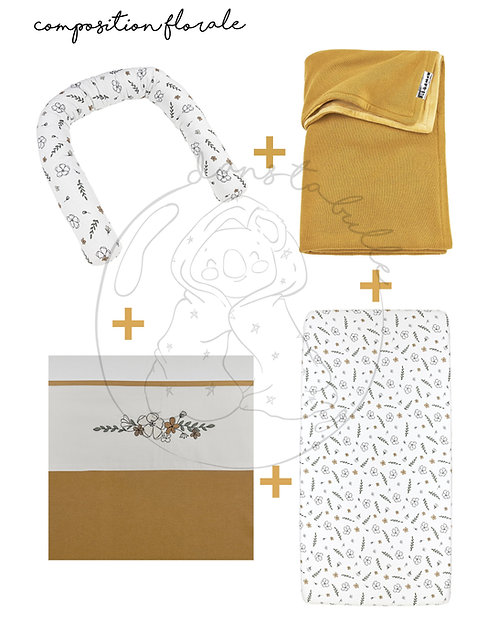 Compo florale 4 pièces pou lit bébé/junior ou berceau  - miel/motif - MEYCO