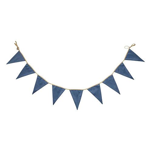 Guirlande fanions velours - 300cm - Bleu - Betty's home