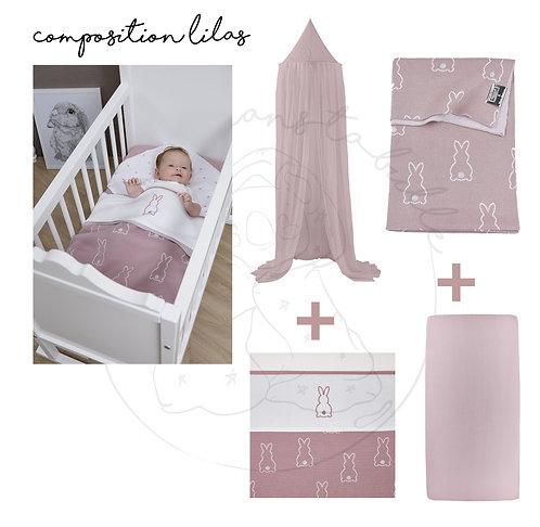 Composition lit bébé/junior ou berceau - 4 pièces - Lilas - MEYCO