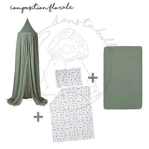 Composition florale 3 pièces pour lit bébé/junior - forêt/motif floral - MEYCO