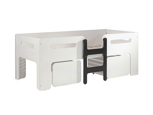 Lit mezzanine 90x200 Luca - Blanc/noir VIPACK