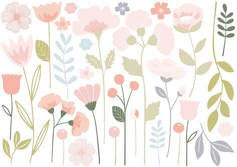 Stickers xl fleurs tiges - Lilipinso
