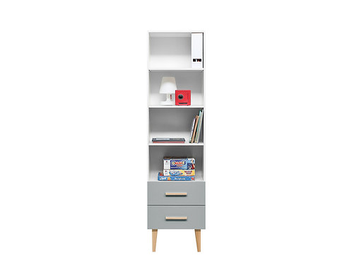 Bibliothèque Emma Blanc/Gris BOPITA