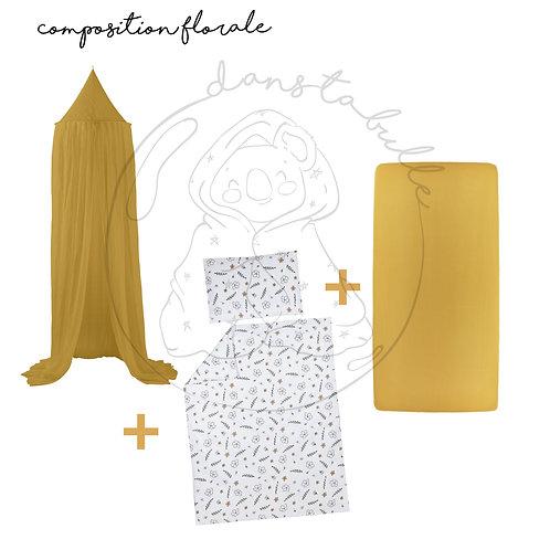 Composition florale 3 pièces pour lit Bébé/junior - miel/motif floral - MEYCO