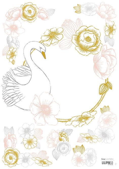 Stickers vintage couronne de fleurs et cygne - Lilipinso