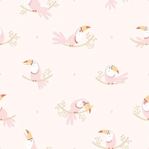 Papier peint - rouleau de 50cm x 10m - motif toucans rose - Lilipinso