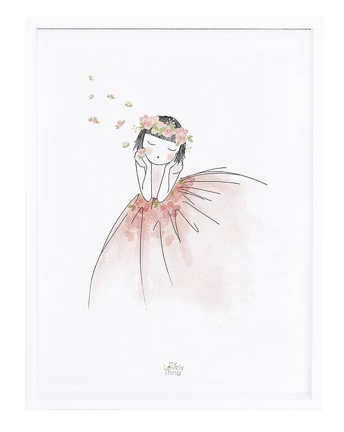 Affiche encadrée fillette et fleurs - Lilipinso