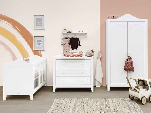 Chambre bébé 3 pièces EVI blanc (Lit 60x120) BOPITA