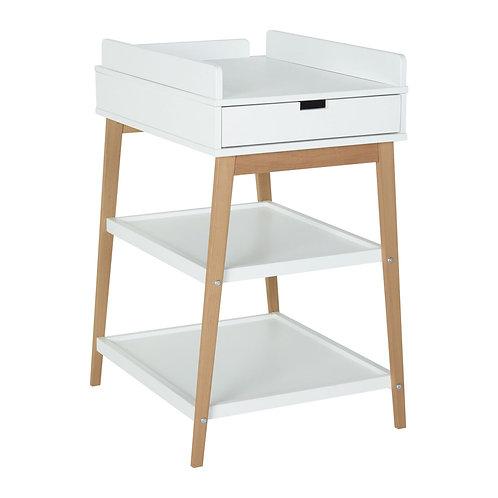 Table à langer Hip avec tiroir - Blanc/naturel QUAX