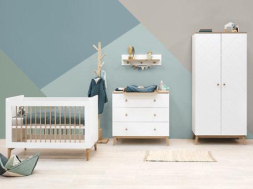 Chambre bébé 3 pièces PARIS Blanc/Chêne (Lit 60x120) BOPITA