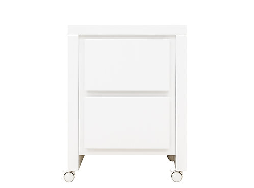 Table de nuit / Table à tiroirs Camille Blanc (incl. 4 roulettes) BOPITA