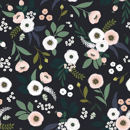 Papier peint - rouleau de 50cm x 10m - motif floral  sur fond sombre - Lilipinso