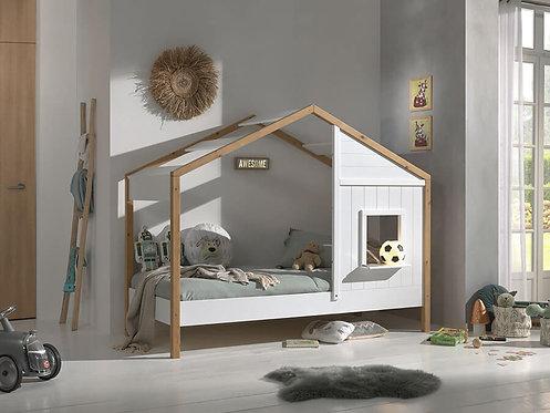 Lit cabane ouvert 90x200 sommier inclus 2 fenêtres - Blanc/bois VIPACK