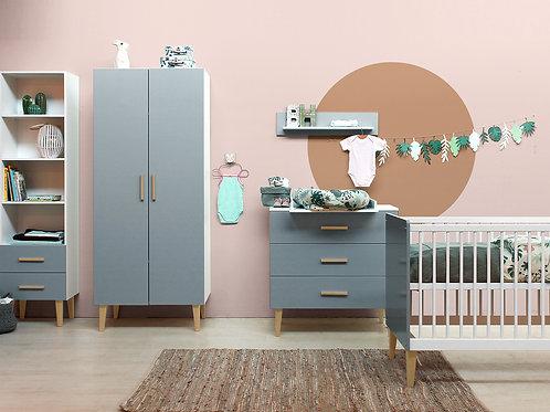 Chambre bébé 3 pièces EMMA blanc/gris (Lit 70x140) BOPITA