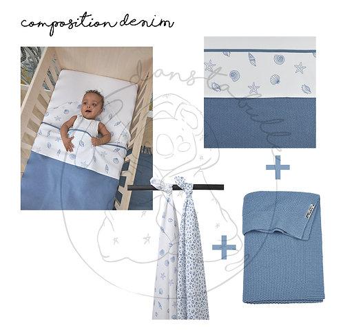 Composition lit bébé/junior ou berceau - 3 pièces - Denim - MEYCO