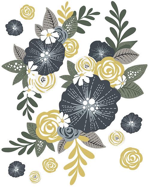 Stickers fleurs bleu nuit et jaune doré - Lilipinso