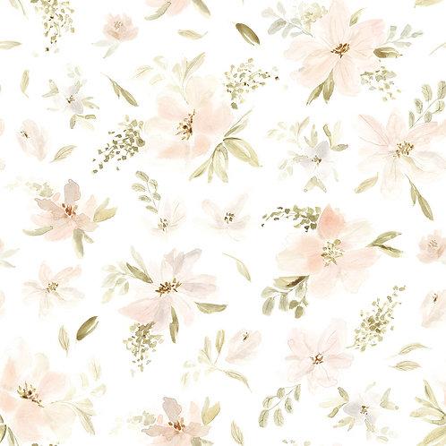 Papier peint - rouleau de 50cm x 10m - motif fleurs rose-orangée - Lilipin