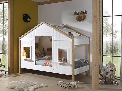 Lit cabane 90x200 sommier inclus 2 fenêtres - Blanc/bois VIPACK