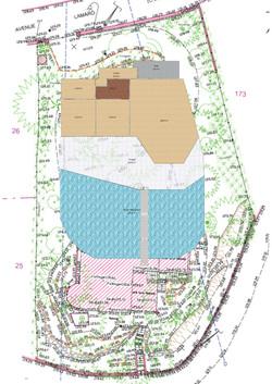 Location of new villa on plot map