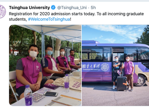 On-campus registration begins at Tsinghua; most international students prepare for remote learning