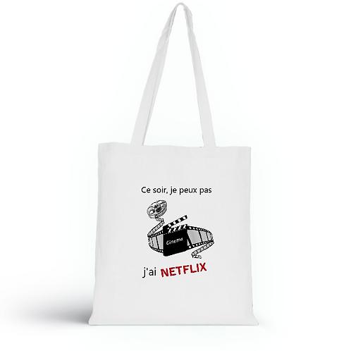 Totebag blanc en coton bio/sac en toile/Netflix/aperçu recto/mode éthique/dreamshirtfactory