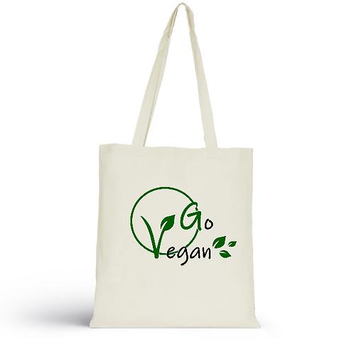 Totebag écru en coton bio/sac en toile/Go Vegan/aperçu recto/mode éthique/dreamshirtfactory