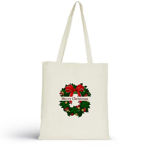 Totebag écru en coton bio/sac en toile/Merry Christmas/aperçu recto/mode éthique/dreamshirtfactory