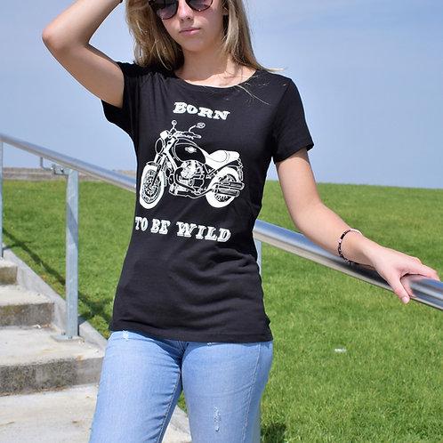 Tee shirt noir Femme en coton bio/Born to be Wild/aperçu recto/mode éthique/dreamshirtfactory