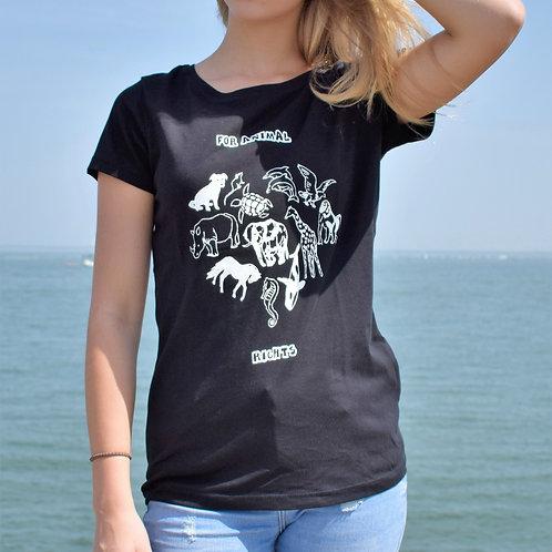 Tee shirt noir Femme en coton bio/For Animal Rights/aperçu recto/mode éthique/dreamshirtfactory