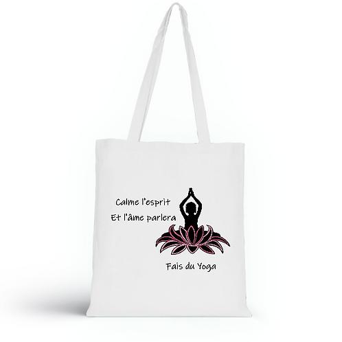 Totebag blanc en coton bio/sac en toile/Fais du Yoga/aperçu recto/mode éthique/dreamshirtfactory