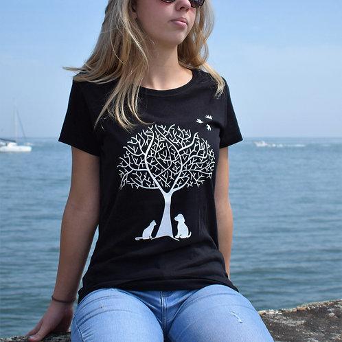Tee shirt noir Femme en coton bio/Nature/aperçu recto/mode éthique/dreamshirtfactory