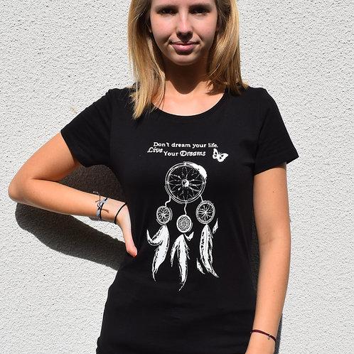 """T-shirt imprimé Femme """"Attrape-rêves"""" blanc sur noir"""