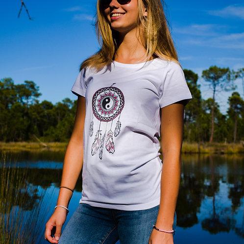 Tee shirt blanc Femme en coton bio/Dreamcatcher colors/aperçu recto/mode éthique/dreamshirtfactory
