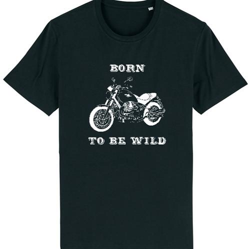 """T-shirt imprimé Homme """"Born to be Wild"""" blanc sur noir"""