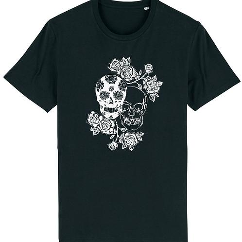 """T-shirt imprimé Homme""""Têtes de mort"""" blanc sur noir"""