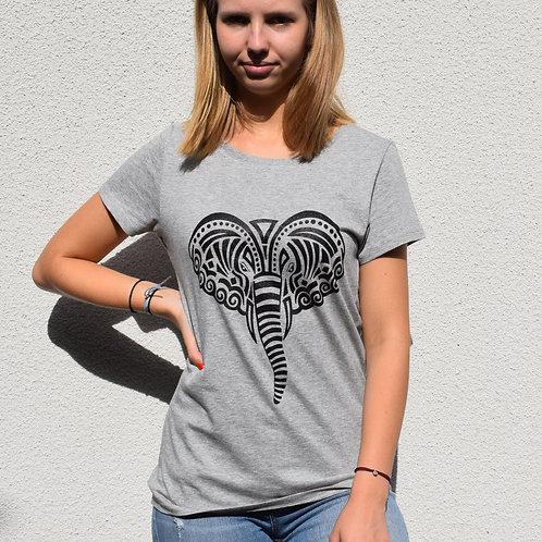 """T-shirt imprimé Femme """"Eléphant"""" noir sur gris"""