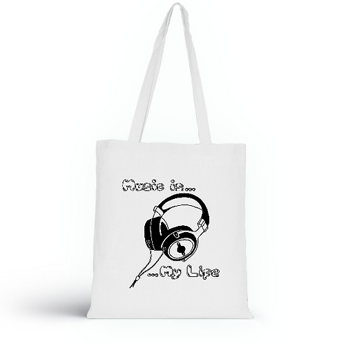 Totebag blanc en coton bio/sac en toile/Music is my Life/aperçu recto/mode éthique/dreamshirtfactory