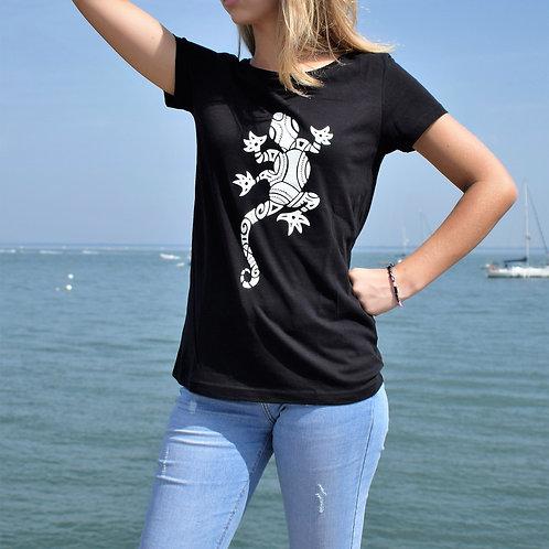 Tee shirt noir Femme en coton bio/Lézard/aperçu recto/mode éthique/dreamshirtfactory
