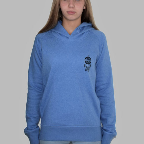 Sweatshirt bleu à capuche femme en coton bio aperçu recto/mode éthique/dreamshirtfactory