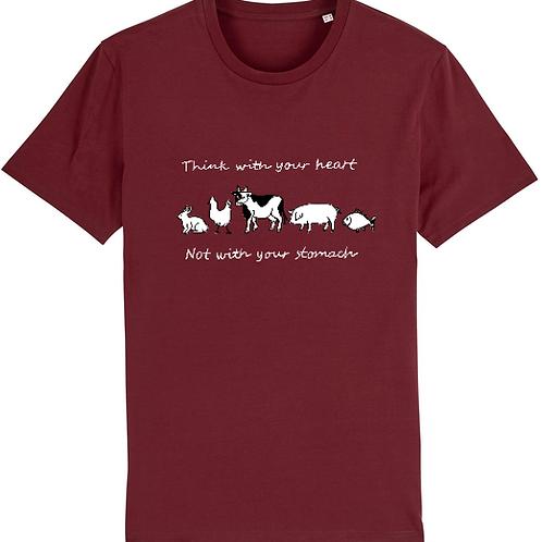 "T-Shirt imprimé Homme ""Think with your heart"" couleur Burgundy"