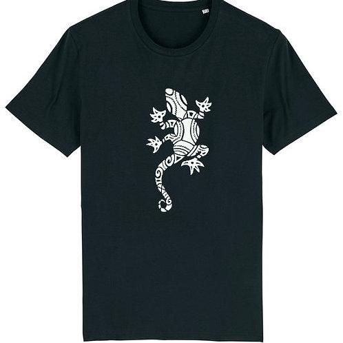 """T-shirt imprimé Homme """"Lézard"""" blanc sur noir"""