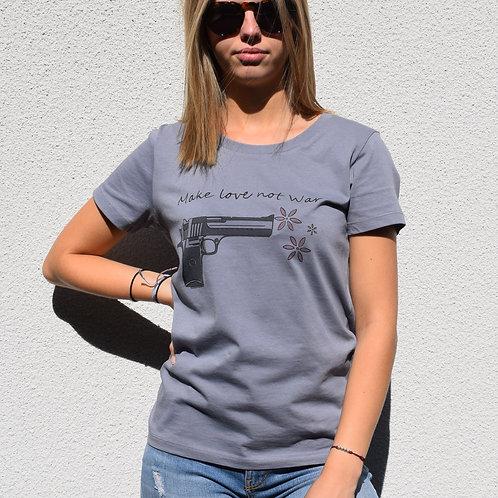 Tee-shirt Gris lave en coton bio/make love not war/aperçu recto/mode éthique/dreamshirtfactory